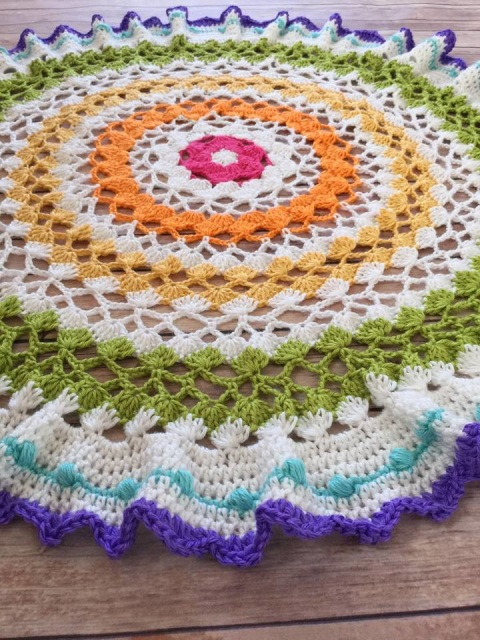 Trellis Waves Round Afghan Crochet Pattern By Crafting