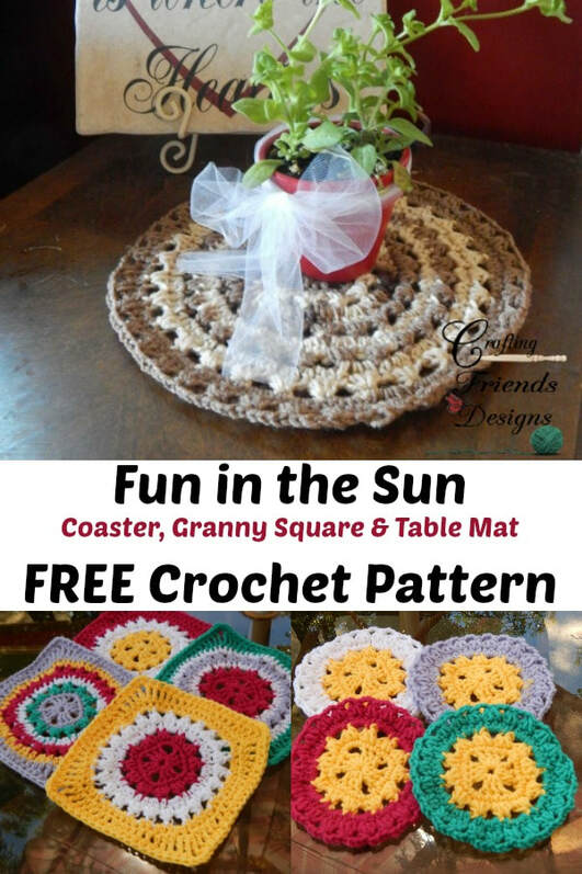 Fun in the Sun Coaster, Granny Square, Table Mat FREE crochet pattern