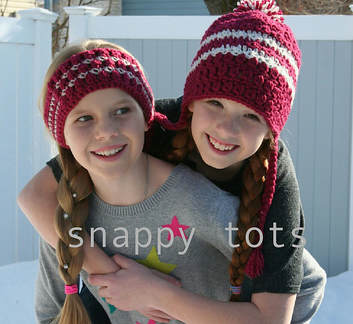 Mulberry Beanie and Band crochet pattern by Snappy Tots
