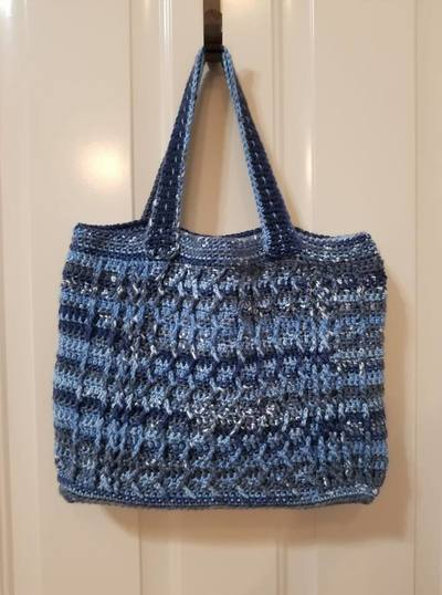 Cabled Zig Zag Bag crochet pattern by Crafting Friends Designs.