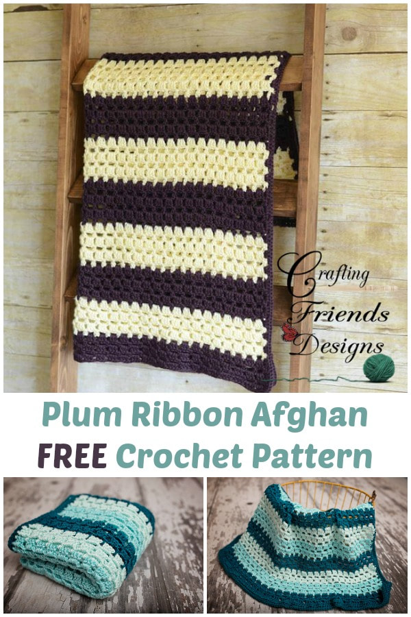 Plum Ribbon Afghan crochet pattern