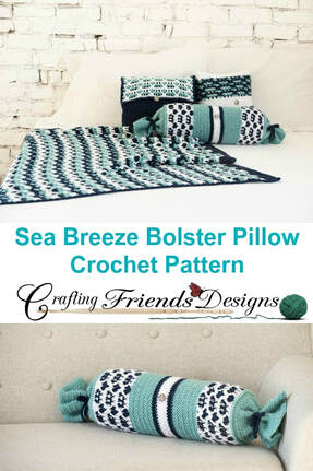 Sea Breeze Bolster Pillow Cover FREE crochet pattern