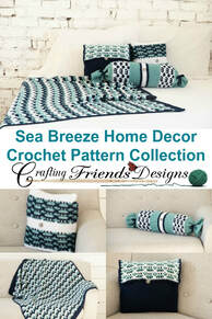 Sea Breeze Bolster Pillow crochet pattern collection by Crafting Friends Designs