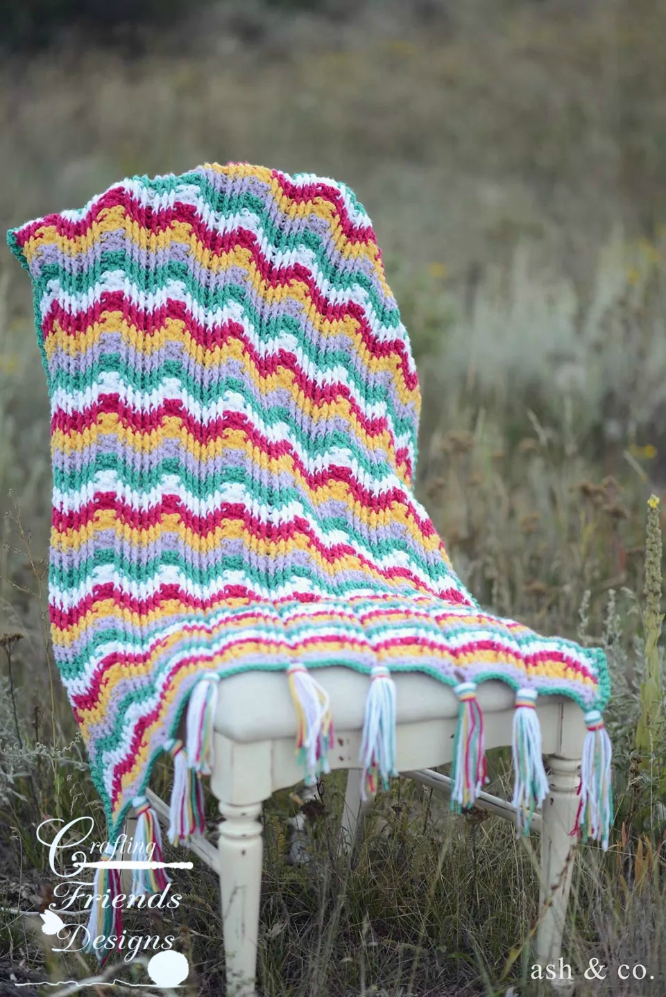 Crochet Pattern Reversible Textured Chevron Afghan