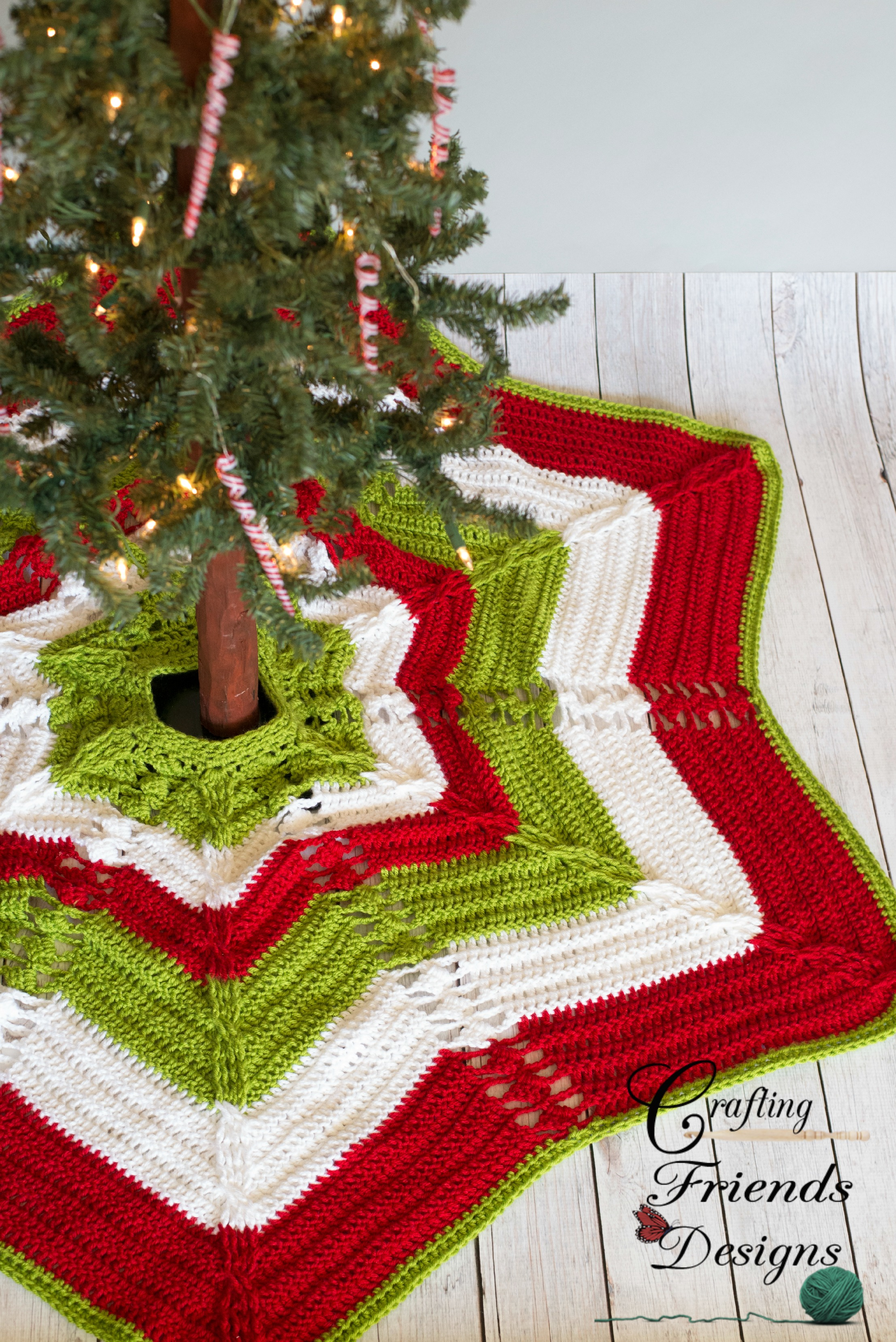 classic cable star christmas tree skirt crochet pattern